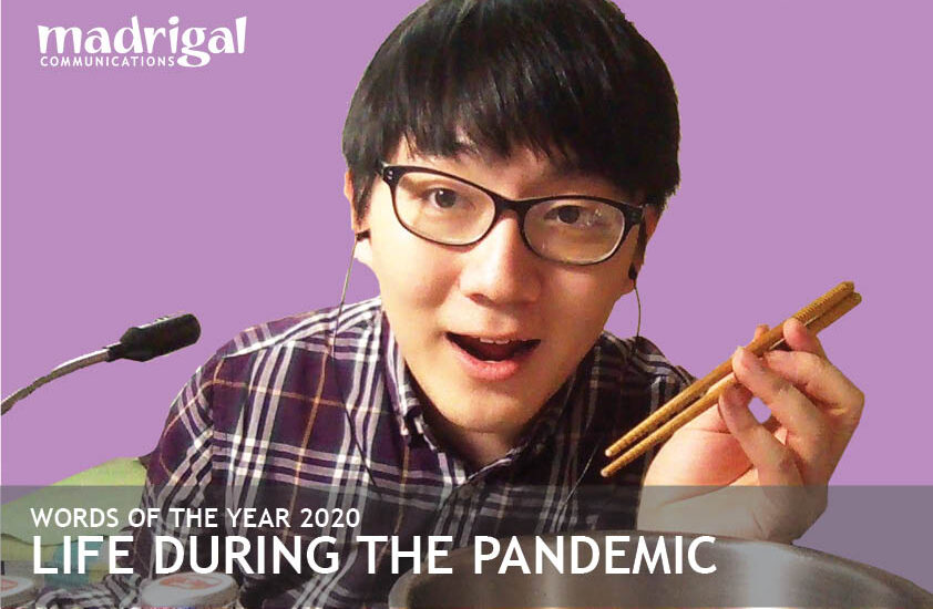 Picture of young man with chopsticks—headline life during the pandemic